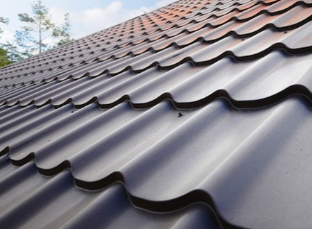 a pitched tile roof
